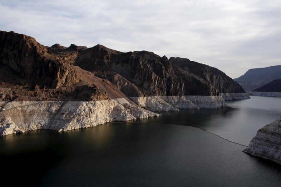 The depleted water level caused by a prolonged drought in the western United States can be seen on Lake Mead in Nevada on May 6, 2015.