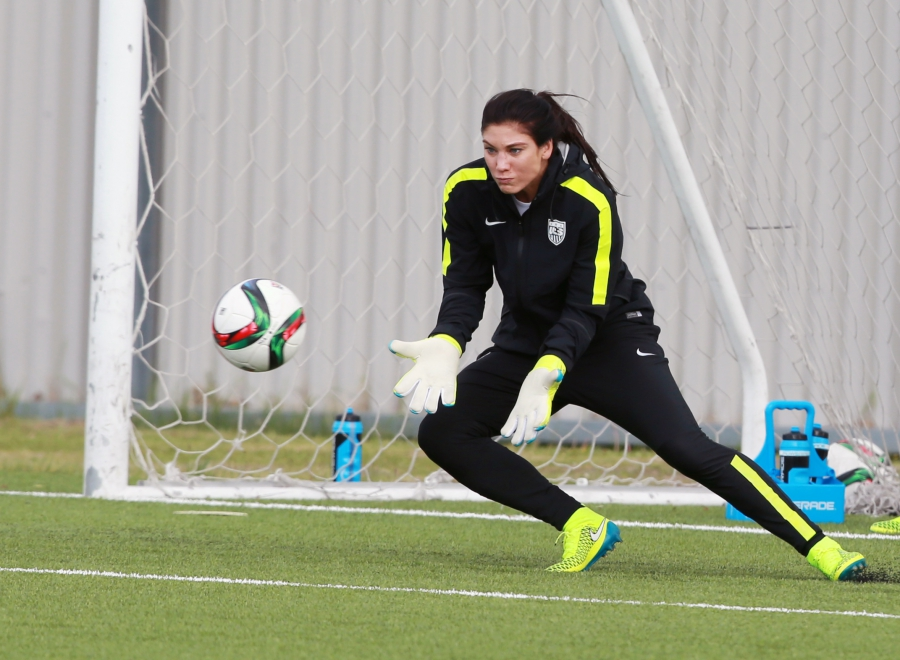 US goalkeeper Hope Solo (1) during training in preparation for the 2015 women's soccer World Cup at Waverly Soccer Complex.