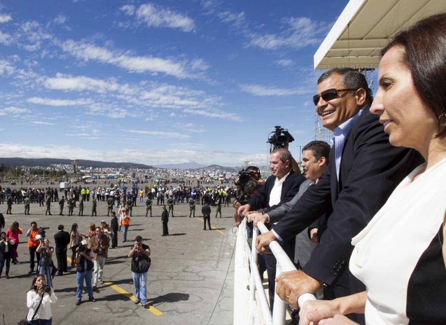Ecuador's President Rafael Correa reviews preparations underway for Pope Francis' visit to the Bicentenario Park in Quito.