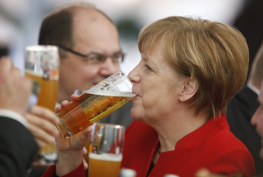 German Chancellor Angela Merkel attends the 500th anniversary ceremony of the German Beer Purity Law in Ingolstadt on April 22.