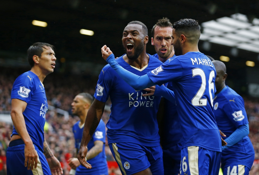 Leicester City's Wes Morgan celebrates scoring their first goal versus Manchester United, May 1, 2016.