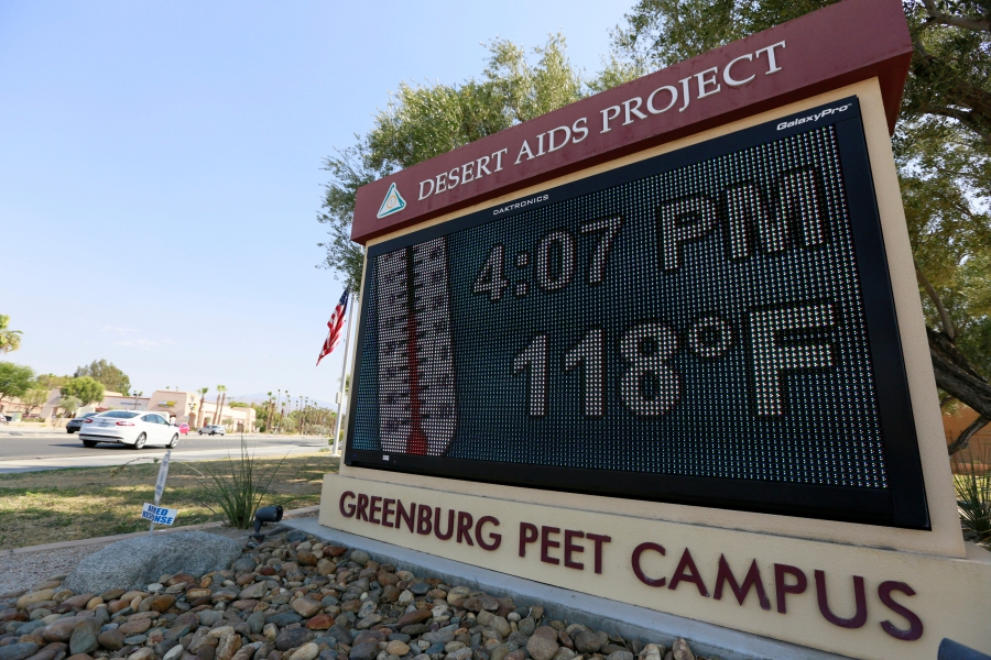 A thermometer sign reads 118 degrees in Palm Springs, California, U.S. on  June 20. The same heat wave grounded comercial flights in Phoenix, Arizona.