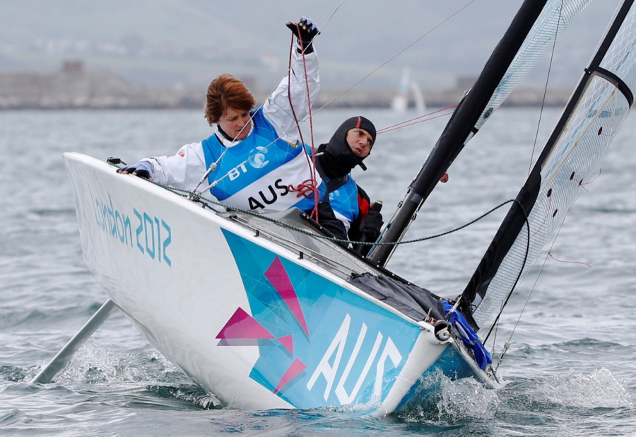 Australia's Liesl Tesch, left, competes in the two-person keelboat sailing competition during the London 2012 Paralympic Games in Weymouth and Portland, southern England on Sept. 2, 2012.