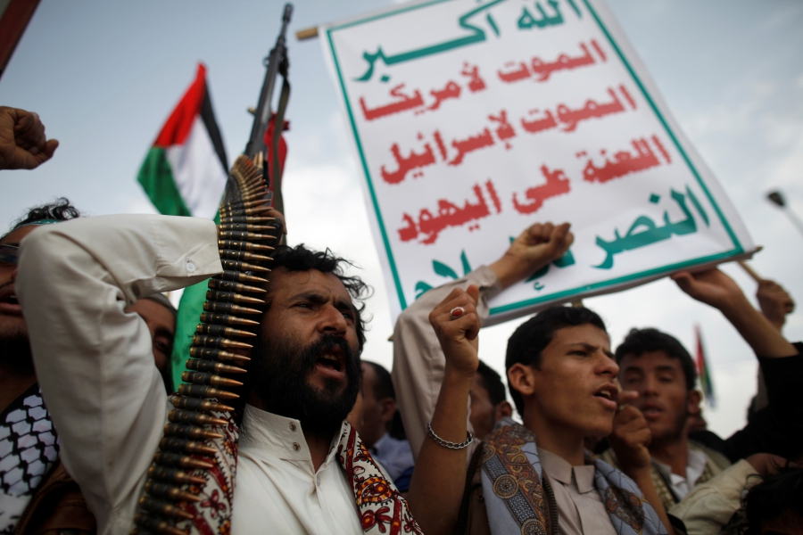 Supporters of the Houthi movement demonstrate in Sanaa,