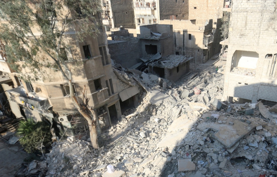 The site of the airstrike where Omran Daqneesh got injured in the al-Qaterji neighborhood of Aleppo, Syria photographed on Aug. 18. The Daqneesh family lived in the building on the left.