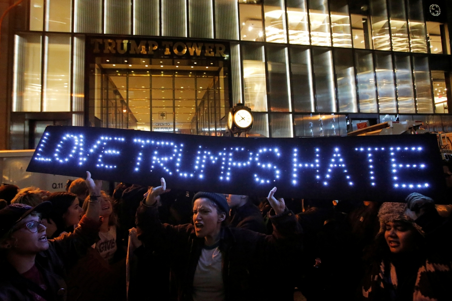 People protest outside Trump Tower following President-elect Donald Trump's election victory in Manhattan.