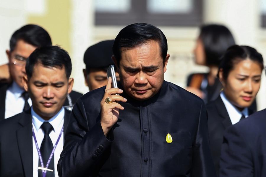 Prayuth Chan-ocha on phone