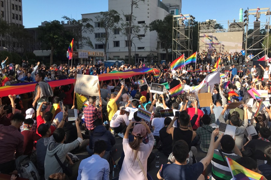 Supporters of same-sex marriage take part in a rally outside the Legislative Yuan in Taipei, Taiwan on Dec. 26.