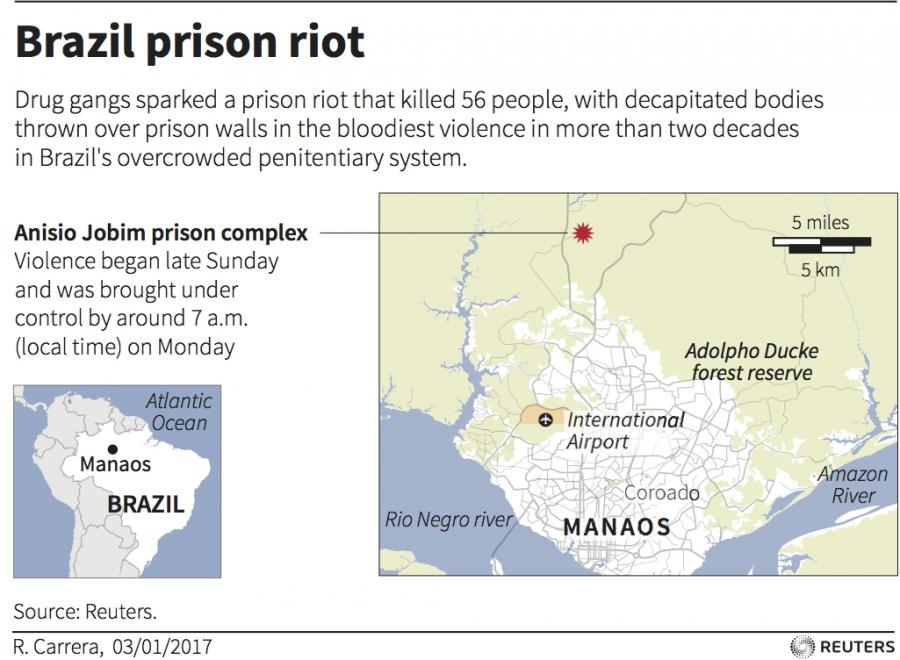 Map Brazil prison riot