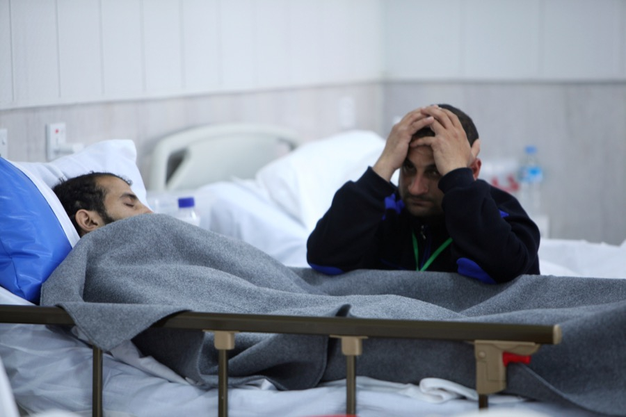 A man wounded in Mosul who is receiving treatment at a hospital in Erbil, Iraq on March 16.