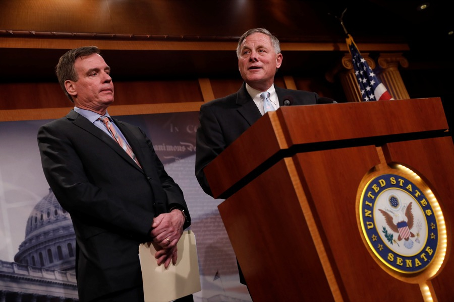 Senate Intelligence Committee Chairman Sen. Richard Burr and Sen. Mark Warner