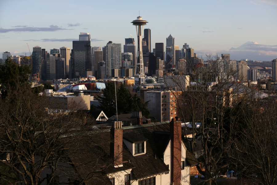 Skyline view of Seattle with home in foreground