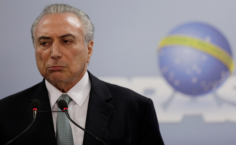 Brazil's President Michel Temer speaks at the Planalto Palace in Brasilia, Brazil, May 18.