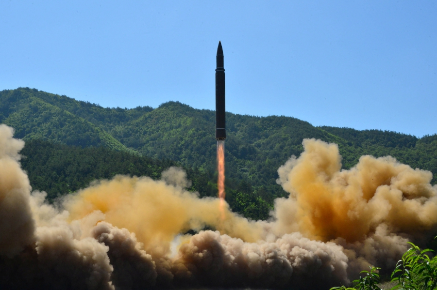 The intercontinental ballistic missile Hwasong-14 is seen during its test in this undated photo released by North Korea's Korean Central News Agency in Pyongyang, on July 5