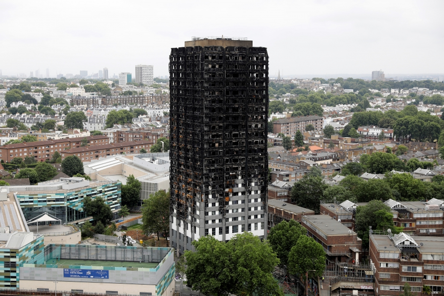A general view shows the Grenfell Tower, which was destroyed in a fatal fire, in London, Britain July 15, 2017.