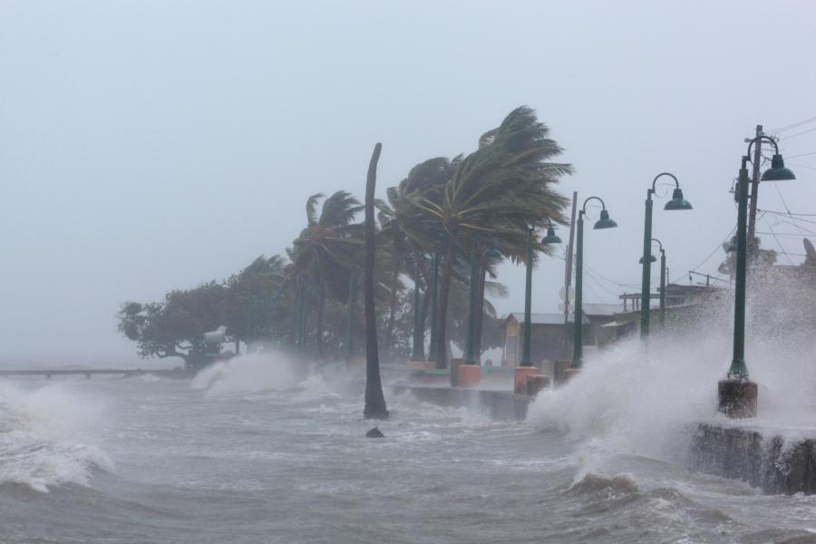 Waves crash against the seawall as Hurricane Irma slammed into Fajardo, Puerto Rico, on Sept. 6, 2017.