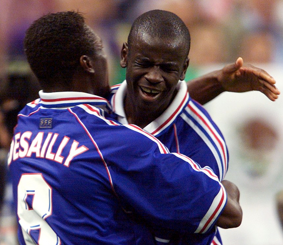 France's Marcel Desailly and Lilian Thuram celebrating at the 1998 World Cup.