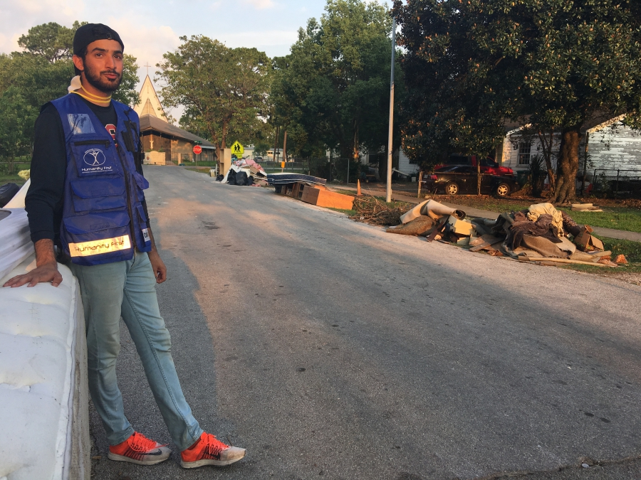 Rahman Nasir, with the Ahmadiyya Muslim Youth Association, a youth group, volunteered to help families recover post-Hurricane Harvey.