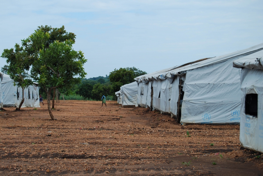 A refugee walks through the central reception area of the Bidi Bidi settlement. New arrivals are sent to other camps in Uganda, so this area is now largely deserted.