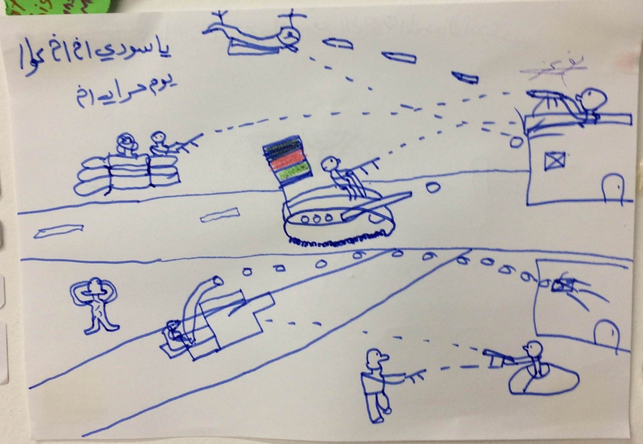 An Afghan child's drawing at a shelter for migrants in Serbia.