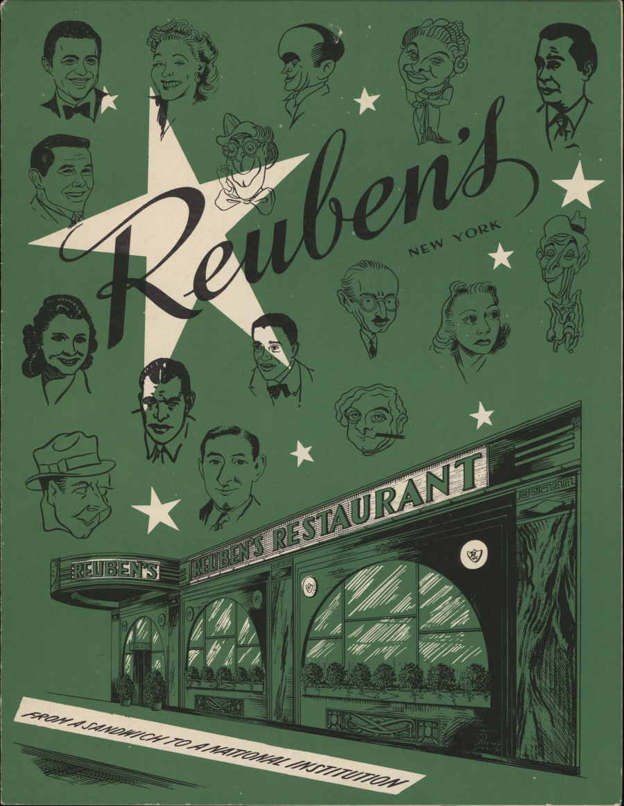 Cover of Reuben's Restaurant and Delicatessen menu with a caricatures of stage and film stars.
