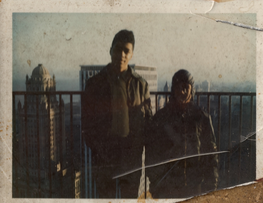 Former Marina City paperboy Robin Washington, right, and his brother Glen on an East Tower balcony in the late 1960s, when the buildings dominated Chicago's skyline.