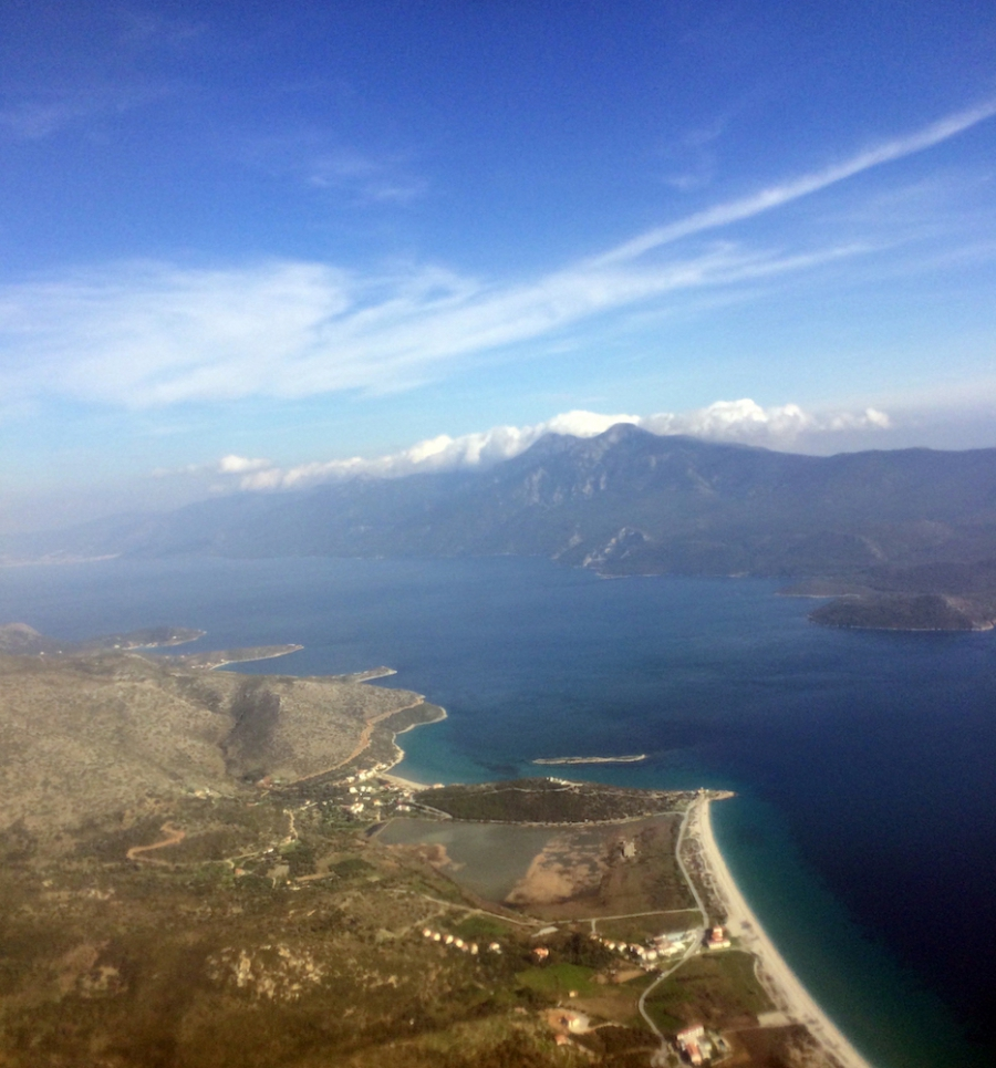 The small stretch of water between the Greek island of Samos, left, and Turkey.
