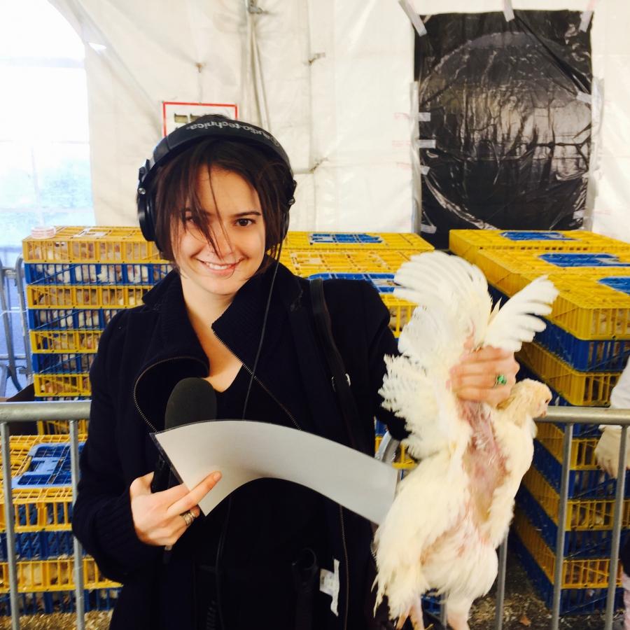 Sarah Birnbaum with her Kaparot chicken.