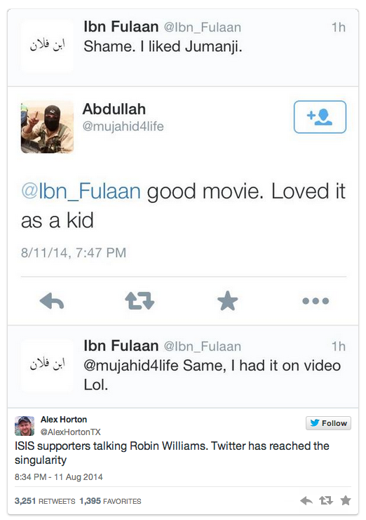 Screenshot of tweets between Alex Horton and Abdullah, an ISIS activist. Aug. 11.