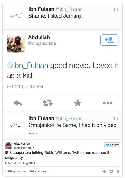 Screenshot of tweets between Alex Horton and Abdullah, an ISIS activist. Aug. 11.