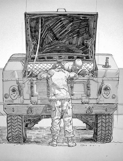 Army Sergeant Nathaniel Snow and Army Corporal Sally Curlis works on a Humvee in Doha, Qatar. February 2003.