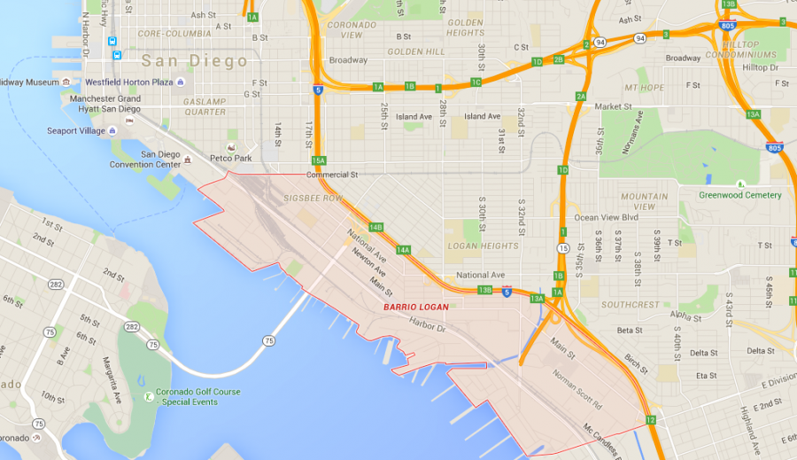A Google map of Barrio Logan, just across the way from the San Diego Convention Center which is the epicenter of Comic-Con