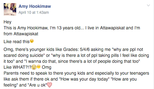 Amy Hookimaw's plea to First Nations parents to check on their children Credit: Facebook