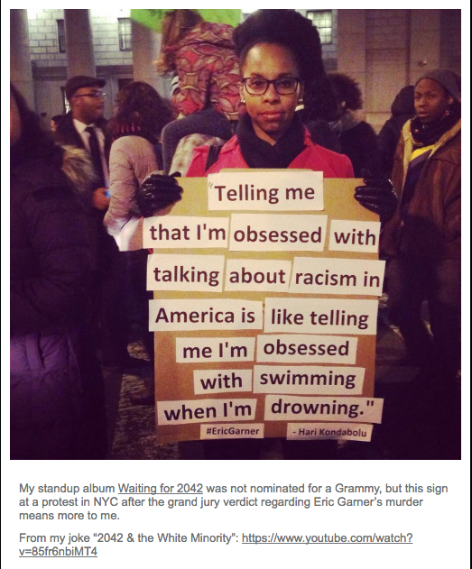 Screenshot of Tumblr entry, with photo of protester and Kondabolu comment