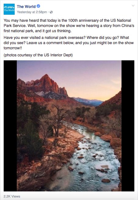 National Parks on The World's Facebook page