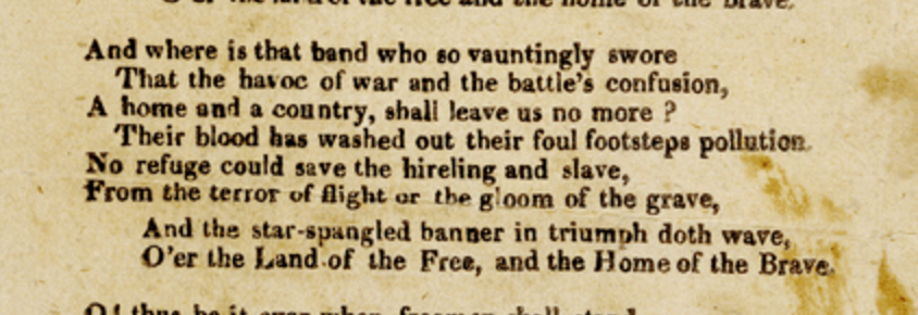 "The third stanza of Francis Scott Key's ""Defence of Fort McHenry."""