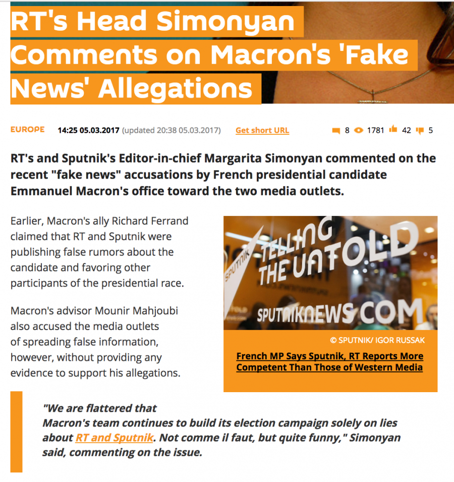 Margarita Simonyan, editor-in-chief of RT and Sputnik, shrugged off the accusations in France her Russian outlets were spreading fake news.