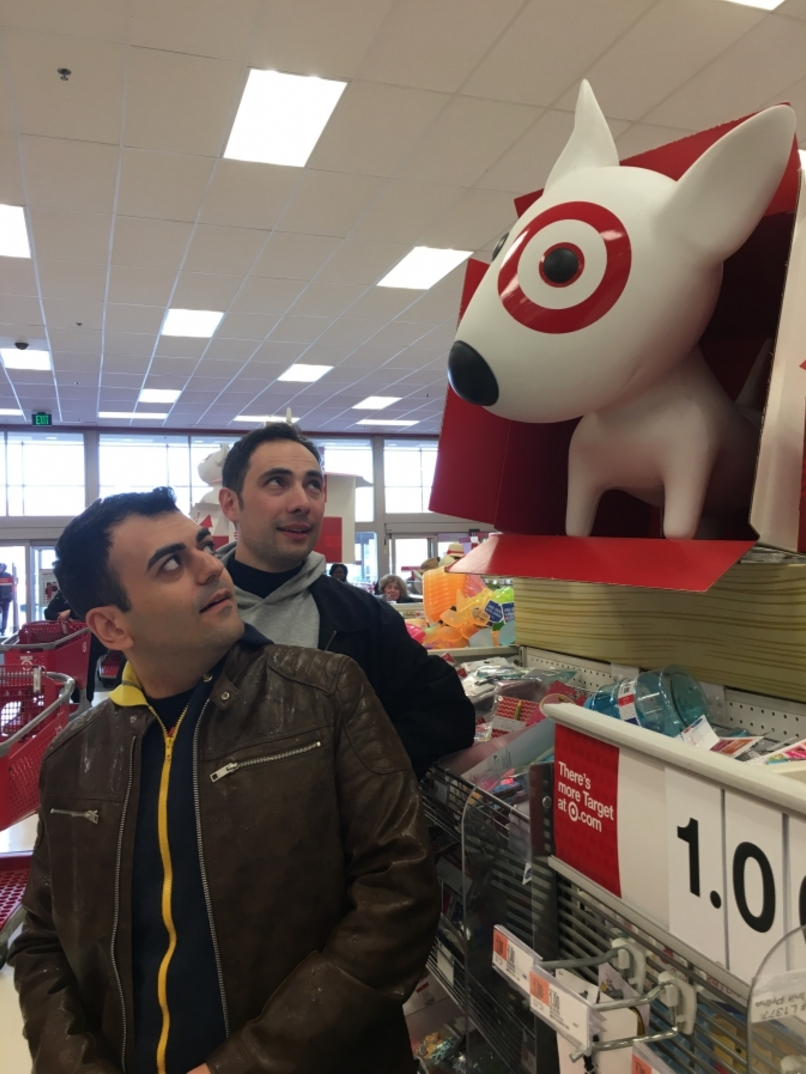 Narek Margaryan and Sergey Sargsyan, the hosts of Armenia's first satirical news program, ArmComedy, discover Target on a recent visit to the United States.