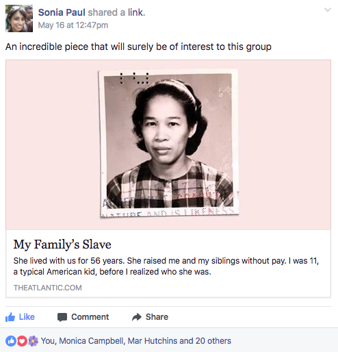 "Screenshot of Facebook post with link to ""My Family's Slave"" story"