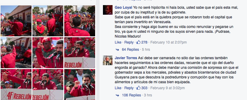 Screenshot of the Facebook wall of the President Nicolás Maduro.