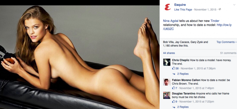 A post on the official Facebook page of Esquire men's magazine featuring the naked buttocks of model Nina Agdal.