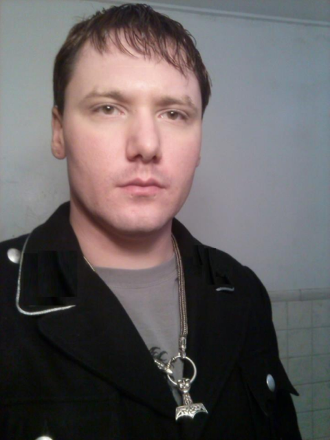 Brandon Lashbrook wears Thor's hammer on his necklace.
