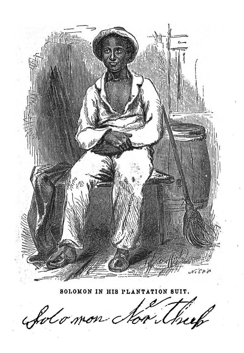 An illustration depicts Solomon Northrup, a free African American man who was kidnapped and sold into slavery in 1841. He sits on a bench wearing a white shirt, white pants, and a brimmed hat.