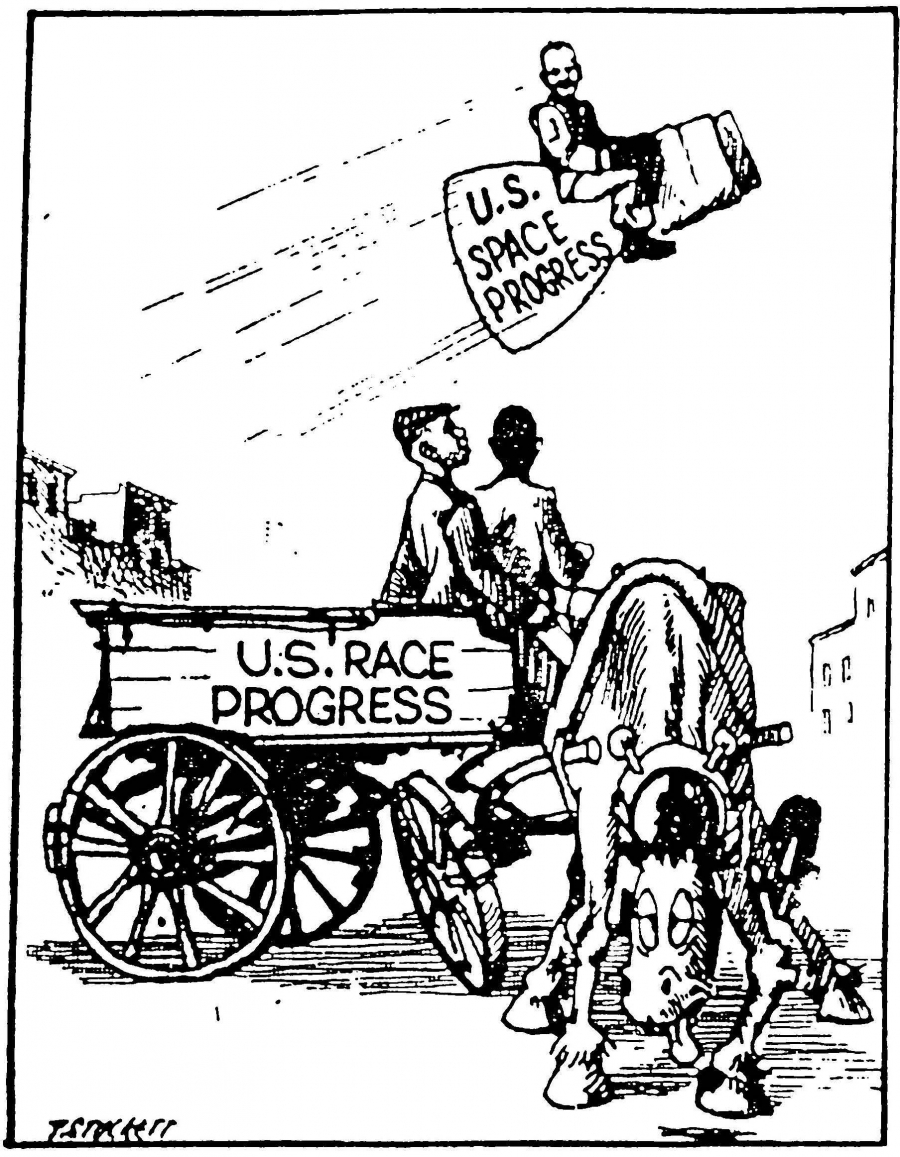 Stockett cartoon on space v. race progress