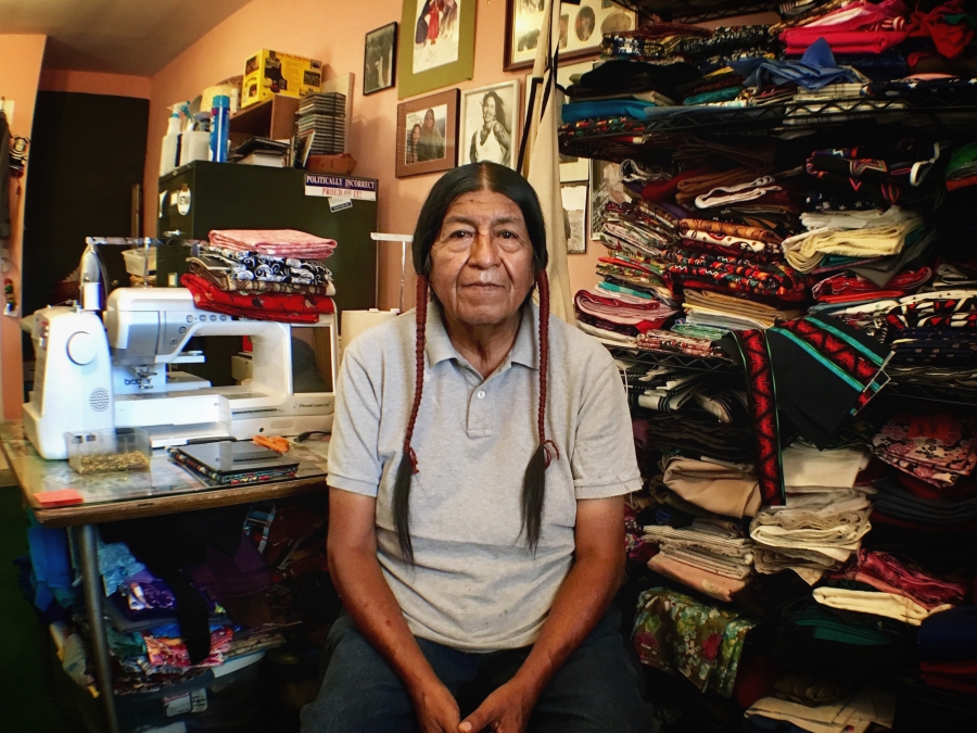 Stan Lucero, tribal linguist and dress maker, Pueblo of Laguna.