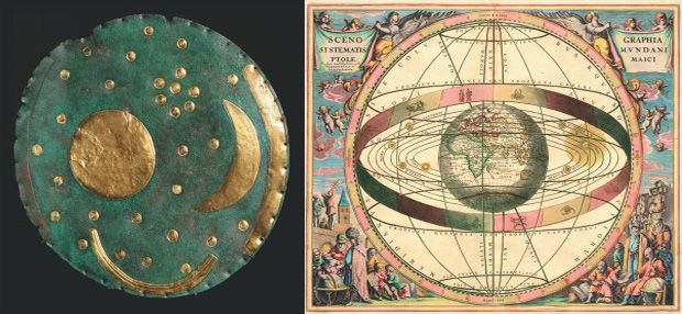 (L) Dating from the period 2000 – 1600 BC, the Nebra Sky Disk is roughly the size of an old vinyl record. Its representation of stars and other lunar objects is the oldest known graphic depiction of celestial figures in human history. (R) A 1660 illustrat
