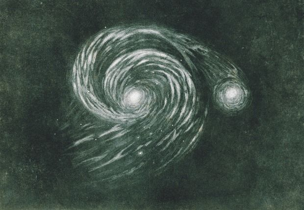 """This 1845 print was modeled after William Parsons's drawing of the nebula M51, now called the """"Whirlpool Galaxy."""" It is about 23 million light-years away and roughly the size of the Milky Way."""