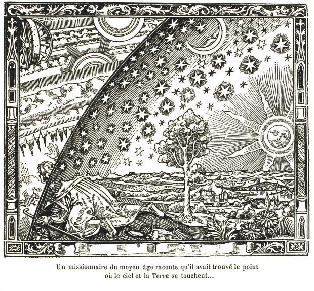 """The caption of this 1888 engraving reads: """"A missionary of the Middle Ages recounts that he had found the point where heaven and Earth meet."""""""