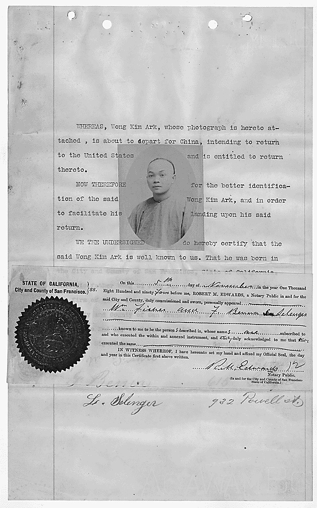 A photo of Wong Kim Ark, an American citizen of Chinese descent, is situated in the middle of a typed document testifying to his ability to travel to and from the US.
