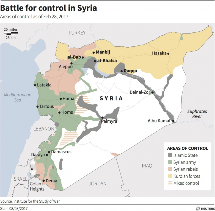 A map showing areas of control in Syria, divided among the Syrian government, Syrian rebels, Kurdish forces and ISIS.